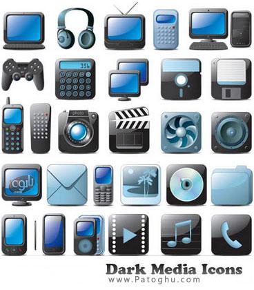 دانلود مجموعه آیکون تیره رنگ با موضوع رسانه به صورت وکتور - Dark Media Icons