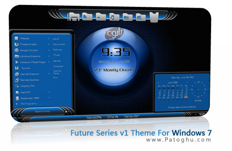 داونلود رایگان تم جدید و بسیا زیبا سری فیوچر ویندوز هفت - Future Series v1 Theme For Windows 7