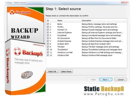 پشتیبان گیری از ایمیل ها و مرورگر ها با نرم افزار Static Backup8 1.255