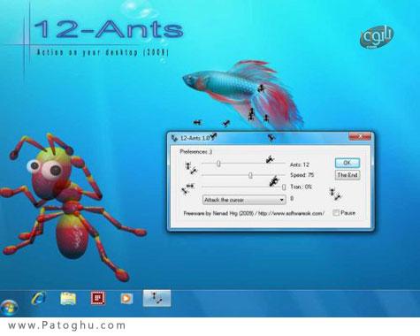 حرکت مورچه ها روی دسکتاپ 12Ants 2.41 portable