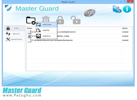 نرم افزار قفل کردن فایل و پوشه ها با یک کلیک Master Guard 1.0