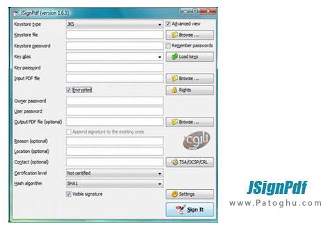 رمزگذاری روی اسناد PDF با JSignPdf 1.6.1
