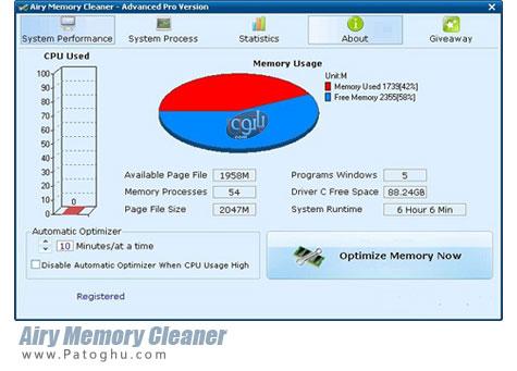 بهینه سازی رم و افزایش چشمگیر سرعت سیستم Airy Memory Cleaner 2.0.1.3 Final