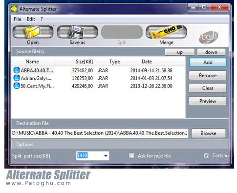 تکه تکه کردن و ادغام فایل ها Alternate Splitter 1.325