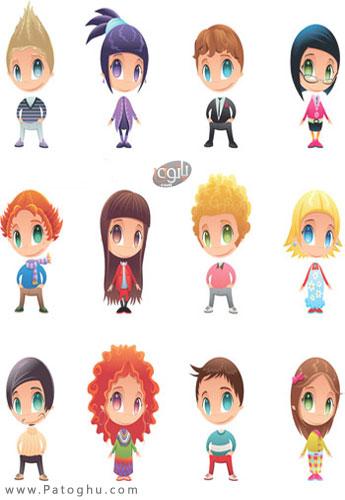 مجموعه آیکون شخصیت های کارتونی با گرافیک بالا Cute Cartoon Characters