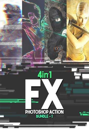 مجموعه 4 اکشن فتوشاپ با موضوعات مختلف FX Photoshop Action