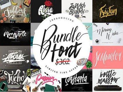 مجموعه 38 فونت انگلیسی Font Bundle & Graphic