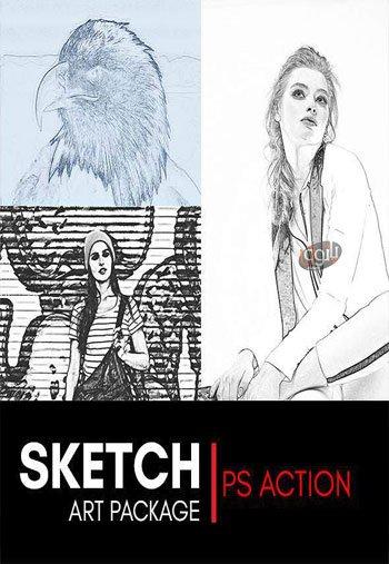 مجموعه 3 اکشن فتوشاپ با موضوع نقاشی Sketch Art Bundle Photoshop Action