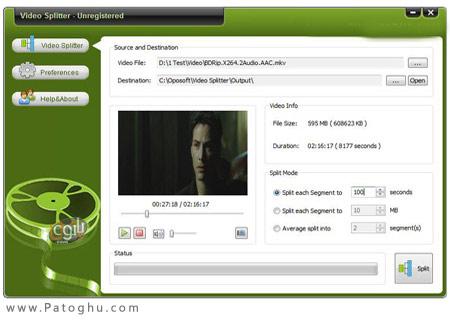 تکه تکه کردن فایل های ویدئویی توسط Oposoft Video Splitter 7.2