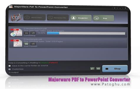 تبدیل پی دی اف به پاورپوینت با نرم افزار Majorware PDF to PowerPoint Converter v4.0