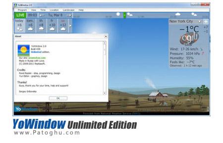 مشاهده وضعیت آب و هوا با نرم افزار YoWindow Unlimited Edition 2.0 Build 511