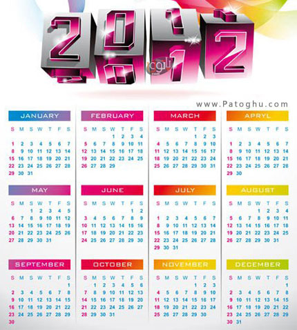 مجموعه وکتور بسیار زیبا تقویم 2012 با عنوان Calendar 2012 Vector