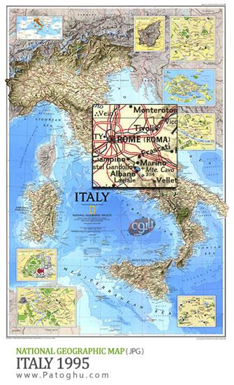 دانلود نقشه ایتالیا با کیفیت بالا برای کامپیوتر - National Geographic Italy 1995 Map
