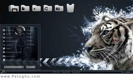 دانلود تم بسيار زيباي Tiger-blue براي ويندوز 7