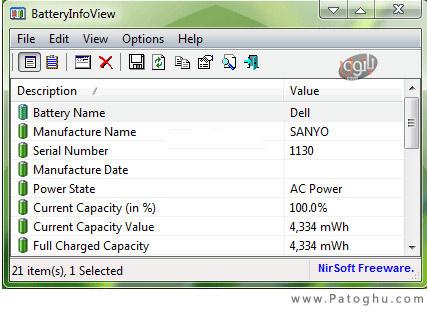 نمایش وضعیت باطری لپ تاپ با BatteryInfoView v1.00 (قابل حمل)